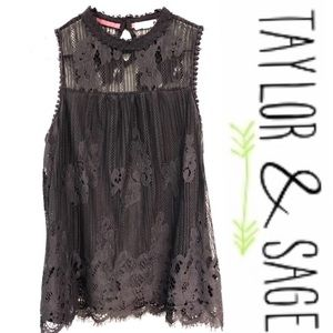 Taylor & Sage Charcoal Color High Neck Tank Lace L